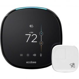 OB Ecobee - Ecobee4 Wi-Fi Thermostat with Room Sensor and Built-In Alexa Voice Service EB-STATE4-01 - Black