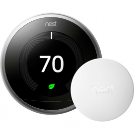 Nest 3rd Generation BH1252 Learning Programmable Wi-Fi Thermostat with Bonus Temperature Sensor - Stainless Steel