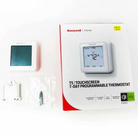 OB Honeywell T5 RTH8560D Programmable 7 Day Touch Screen Smart Thermostat with Battery and Hardwire Options - White
