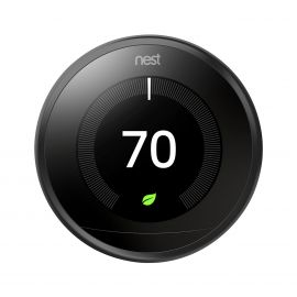 Google Nest T3016US Learning Thermostat 3rd Gen For Tablet, Notebook, Room, Heater, Humidifier, Dehumidifier, Fan, Home, Heat Pump, Smartphone, Cooling System - Google Assistant Stainless Carbon Black